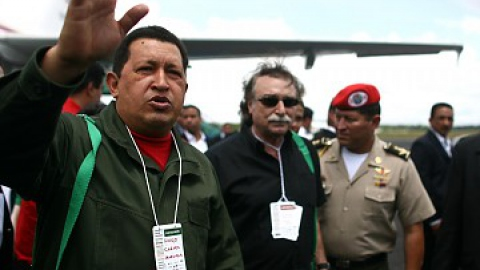 President Hugo Chavez upon landing in Brazil to attend the World Social Forum on Thursday. (Prensa Presidencial)