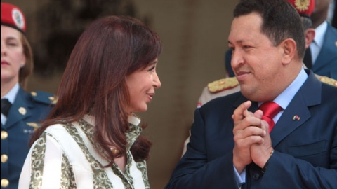 Venezuela's President Hugo Chavez and Argentina's President Cristina Fernandez Kirchner (Prensa Presidencial)