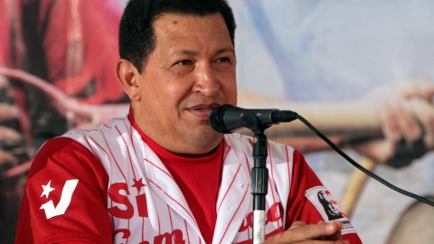 """President Hugo Chavez addressing supporters in the Caracas barrio of Petare on Saturday. (ABN)"