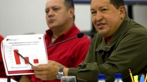 President Hugo Chavez and Public Works Minister Diosdado Cabello on Wednesday (MINCI)
