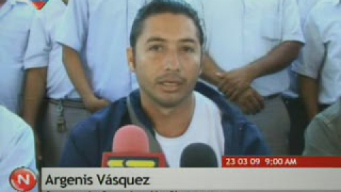 Argenis Vasquez speaking on Venezuelan national television in March this year (VTV)