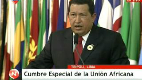 Venezuelan President Hugo Chavez at the African Union Summit in Libya (VTV)