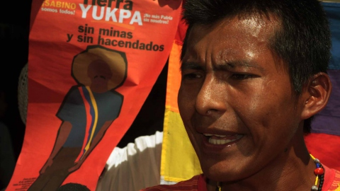 Yukpa leader at a recent demonstration in Caracas (Emilio Guzmán)