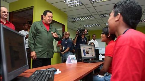 President Chavez in an info-centre