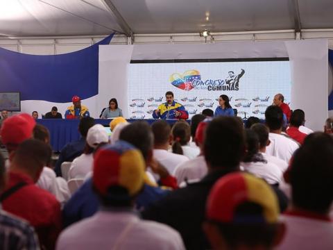 Maduro addresses the Congress of Communes in Caracas