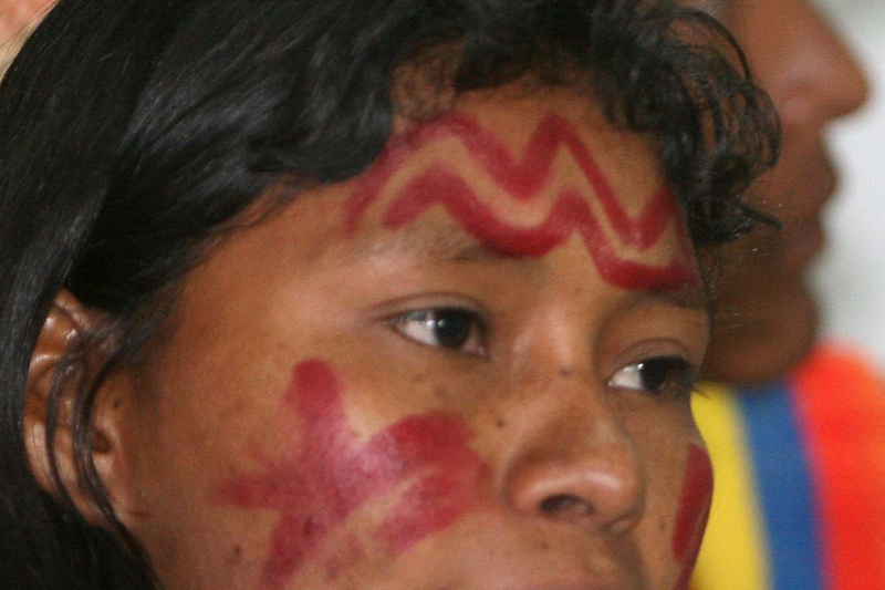 Deisy González Romero, a Yukpa spokesperson, was sent to Caracas in place of Yukpa chiefs who are under death threats from elite landowners. (Avila TV)
