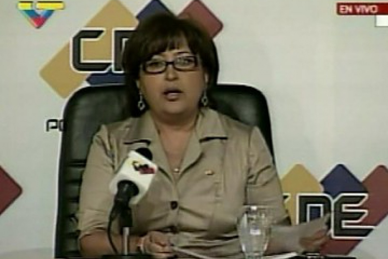 Tibisay Lucena, President of the National Electoral Council reads the results of the constitutional amendment referendum. (VTV)