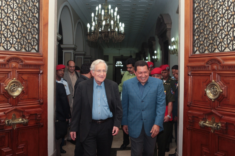 Professor Noam Chomsky (at left) and President Hugo Chavez in Caracas on Monday (ABN)