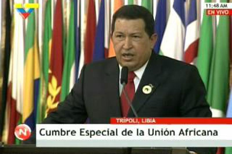 Venezuelan President Hugo Chavez at the African Union Summit in Libya (VTV)