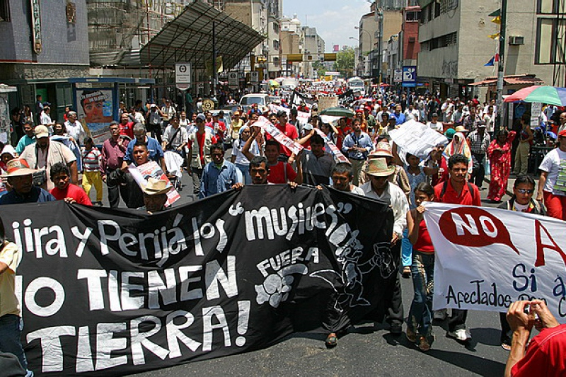 Venezuelan indigenous demonstrators marched in Caracas against coal mining in western Venezuela. Credit: Aporrea.org / ANMCLA