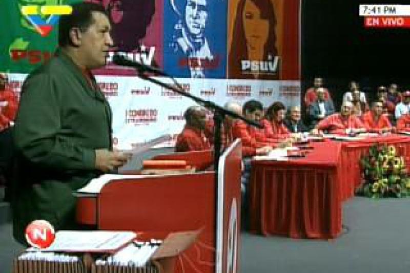 Venezuelan President Hugo Chavez addresses PSUV Congress (YVKE)