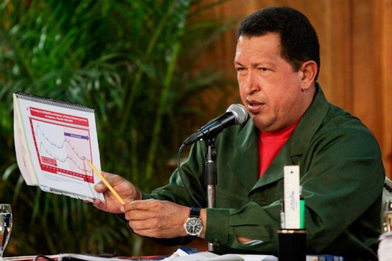 President Hugo Chavez during the credit granting ceremony (PP)