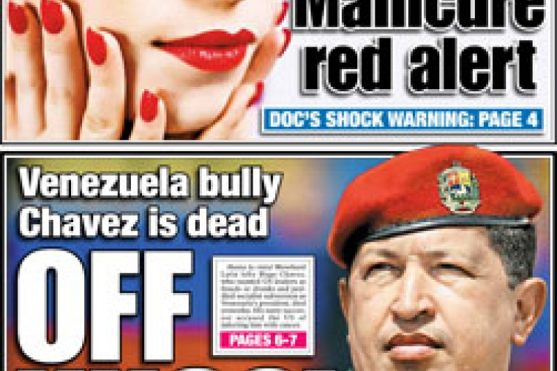 """On March 6, the New York Post described Chavez as the """"Venezuela bully"""""""