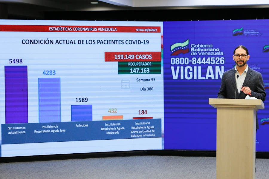 Venezuelan Vice-President for Communications, Culture and Tourism Freddy Ñáñez provides an update on Covid-19 figures in the country. (Prensa Presidencial de Venezuela)