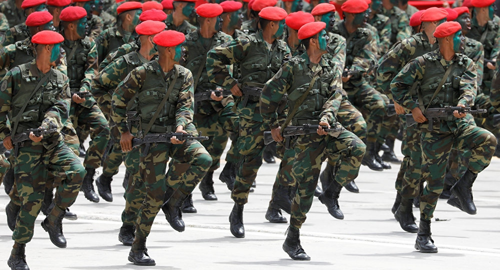 Venezuelan soldiers take part in independence parade celebrations July 5 2018. (Marco Bello / Reuters)
