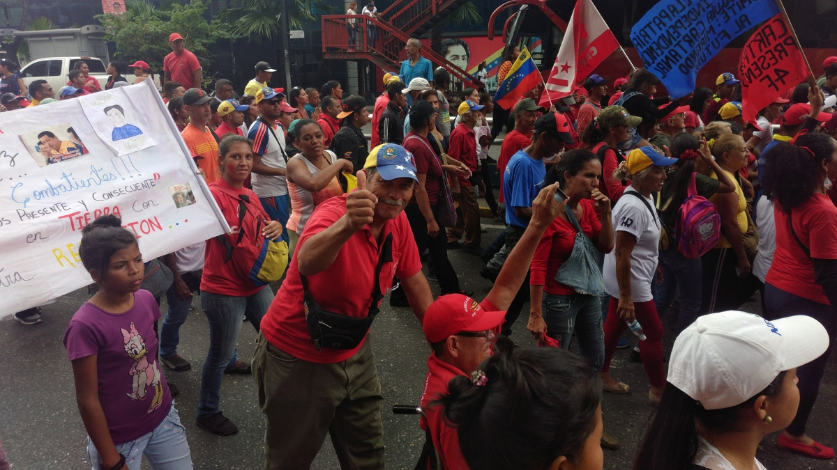 Chavistas march down Urdaneta Avenue in downtown Caracas
