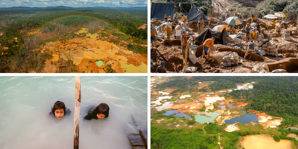 Upper left and lower right: deforestation and the creation of pools with the high-pressure water pumps are inevitable results of mining in the Orinoco Arc (AirPlano). Upper right: open pit mine (Archive). Lower left: according to scientists, the water's white coloring in the mining regions is related to the presence of heavy metals (María Ramírez Cabello/Prodavinci).