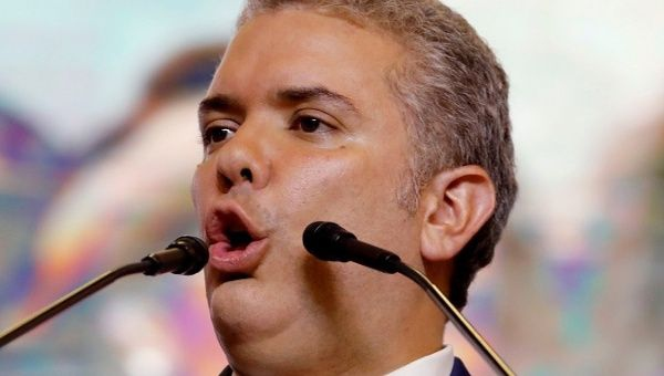 Colombia's President-elect Ivan Duque speaks to supporters after winning the presidential election in Bogota. (Reuters)