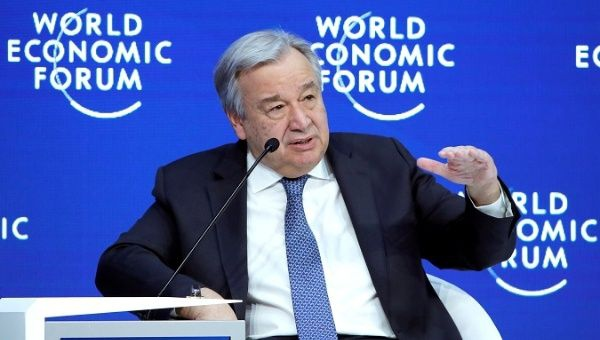 U.N. Secretary General Antonio Guterres attends the World Economic Forum (WEF) annual meeting in Davos, Switzerland, January 24, 2019. (Arnd Wiegmann / Reuters)