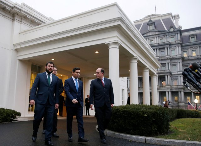 David Smolansky (left), Carlos Alfredo Vecchio (center), and Julio Borges (right) walk from the White House after a meeting in Washington, U.S., January 29, 2019. (Jim Young / Reuters)