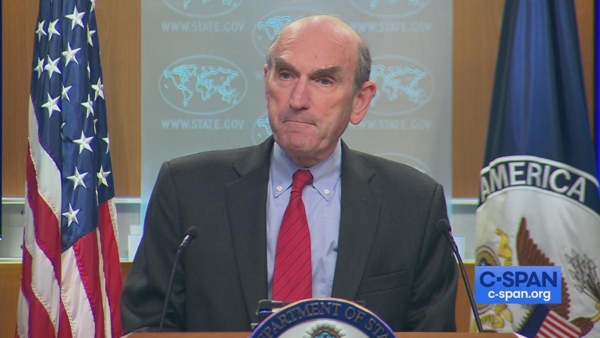 White House envoy for Venezuela Elliott Abrams defended Washington's Venezuela sanctions on Wednesday. (C-Span)