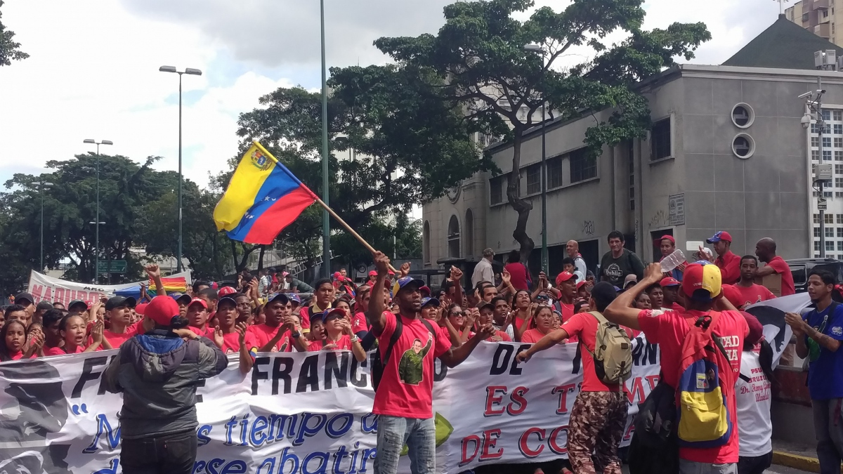 A contingent from Venezuela's socialist youth organization, the Francisco Miranda Front