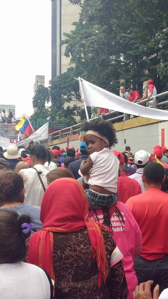 Entire families came out to mark the anniversary of Chavez's thwarted uprising