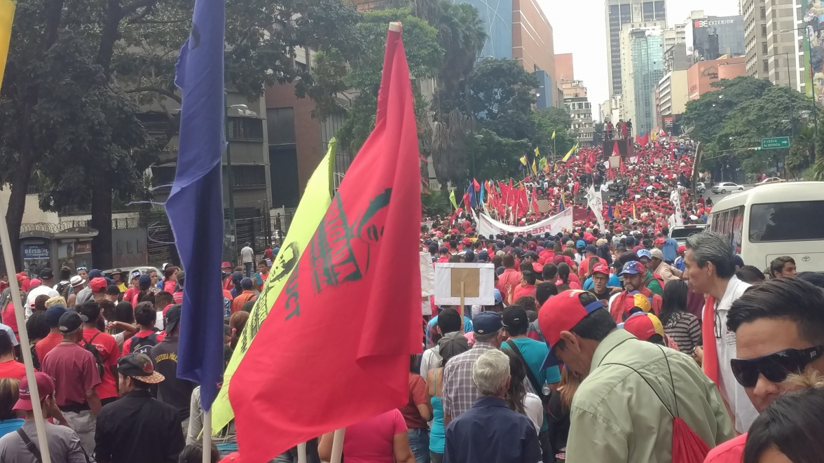 The march went on for miles and miles from the headquarters of Venezuela's public telephone company to Miraflores Palace