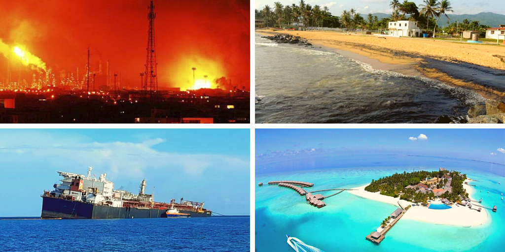 Upper left: Amuay refinery explosion, 2012 (El País). Upper right: the 2020 El Palito Refinery oil spill left its marks in nearby beaches (El Carabobeño). Lower left: the Nabarima oil tanker in the Paria Gulf tilting in October 2020 (Archives). Lower right: a development project in Los Roques archipelago (Banesco).