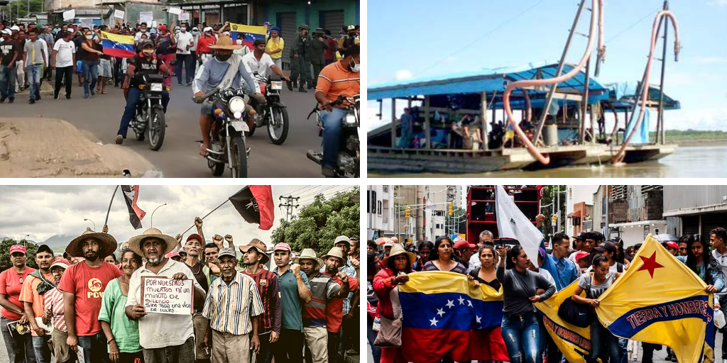 Upper left: the people of Narima in Bolívar State protest for water access and against dredge mining (OEP). Upper right: a dredge boat (Archives). Lower left and right: campesino protests (Marcha Campesina Admirable and Plataforma de Lucha Campesina).