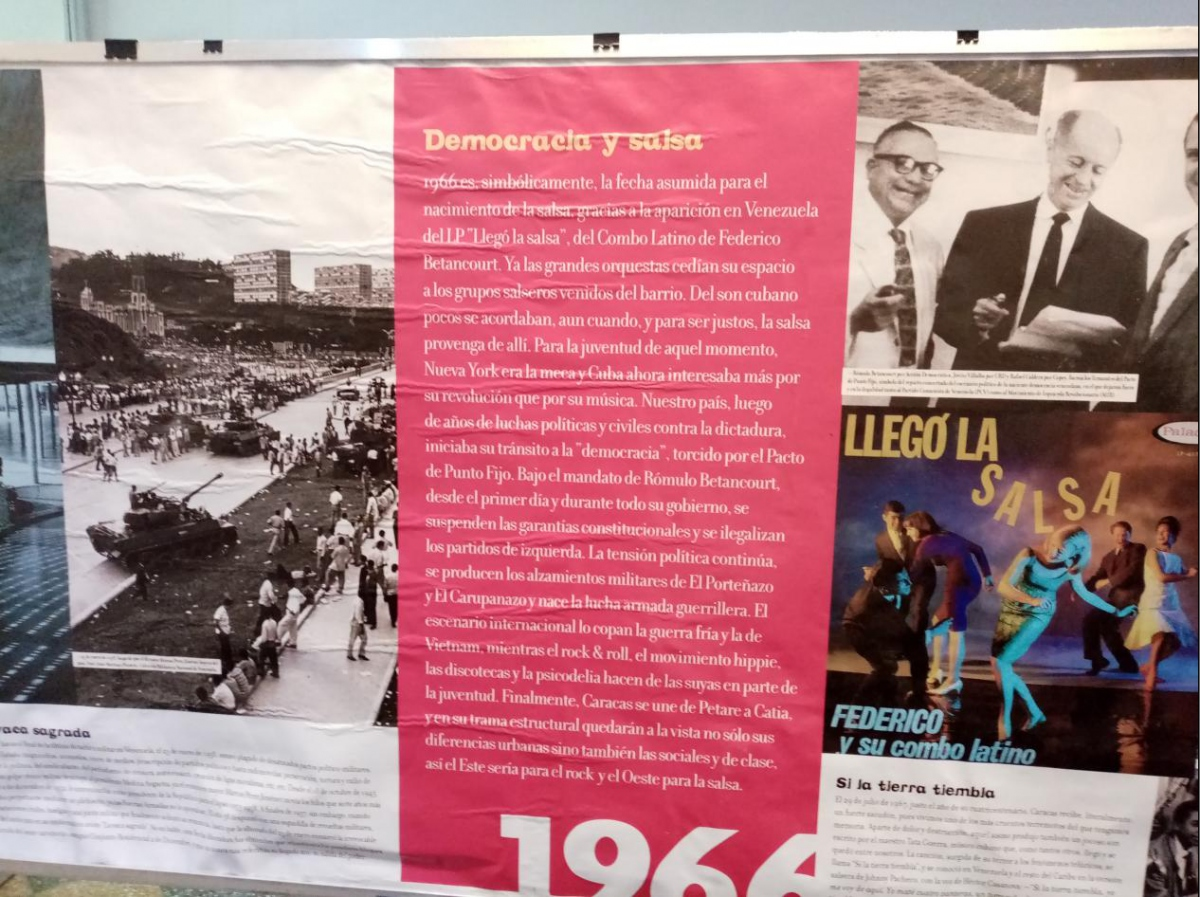 """Democracy and salsa"" - an exhibit in the Alameda Theatre traced the musical evolution in San Agustin in the different historical contexts of Venezuela. (Ricardo Vaz)"