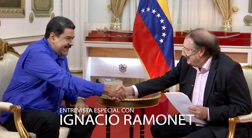 President Maduro talks to Ignacio Ramonet in Caracas 2018 (Ignacio Ramonet / Facebook)