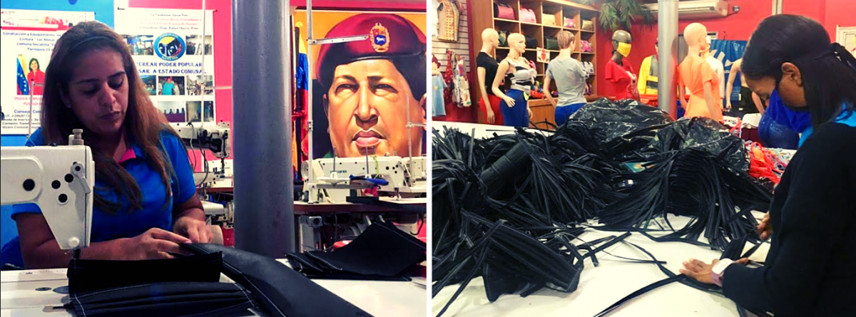 Abejitas del Panal, part of El Panal Commune, hard at work producing facemasks. (Javier Gomez/Venezuelanalysis)