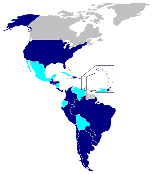 Countries belonging to the TIAR treat are in dark blue and those which have since retired from the pact in light blue. (Wikipedia)