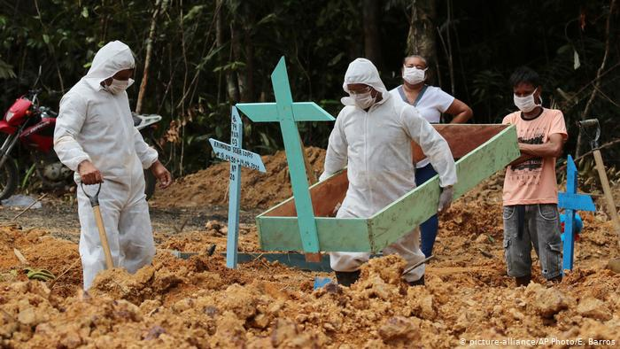 Cemetery workers in protective suits carry the coffin of a person who died of Covid-19 at Nossa Senhora Aparecida Cemetery in Manaus, Brazil. (E Barros / AP)