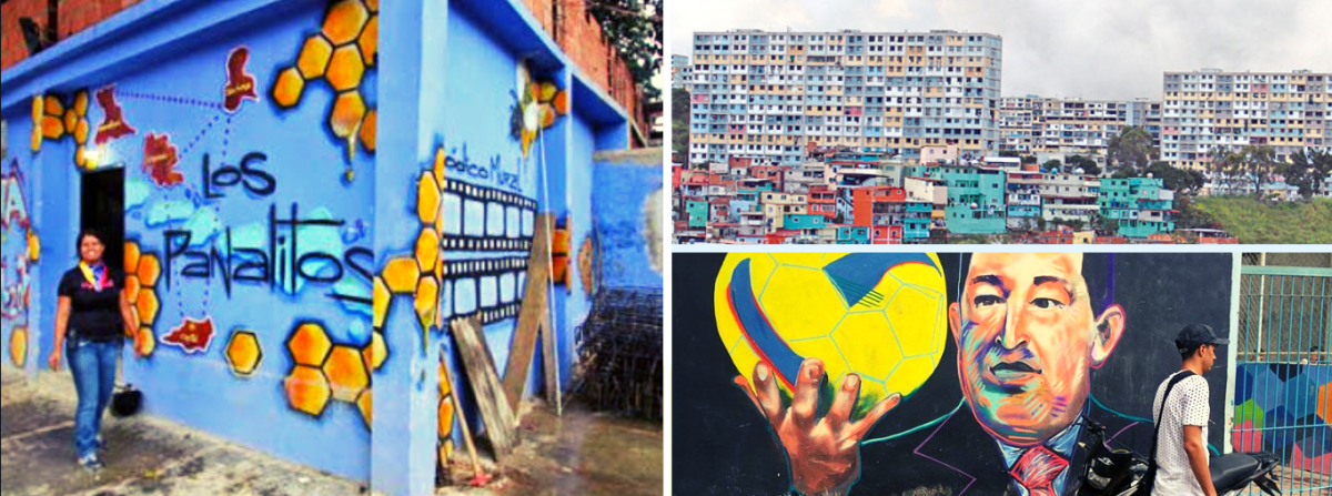 Left: Anacaona Marin / Top right: View of 23 de Enero, Caracas / Bottom right: Chavez mural at El Panal Commune sports court. (Archives)