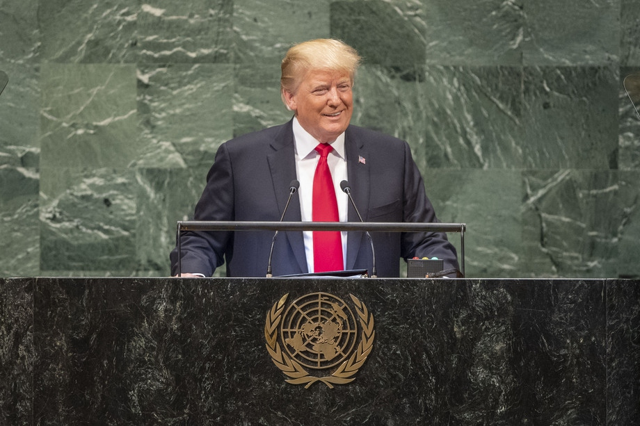 US President Donald Trump speaking at the UN General Assembly (United Nations)