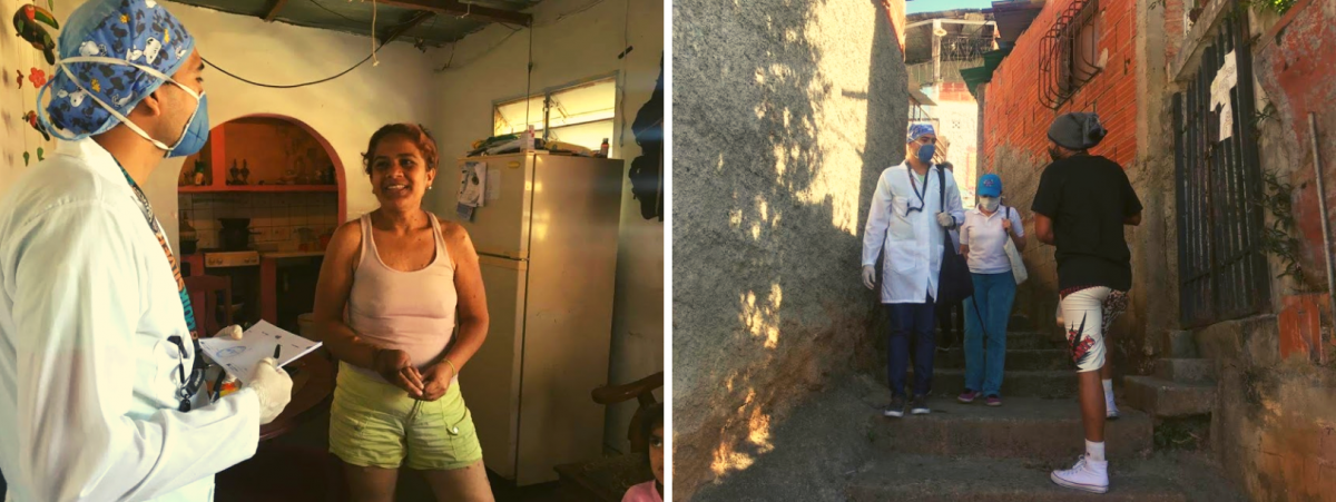 Doctor Gutierrez and the Health Committee in their house-to-house visit, Vista Hermosa sector, Altos de Lidice Commune. (Javier Gómez and Cira Pascual Marquina / Venezuelanalysis)