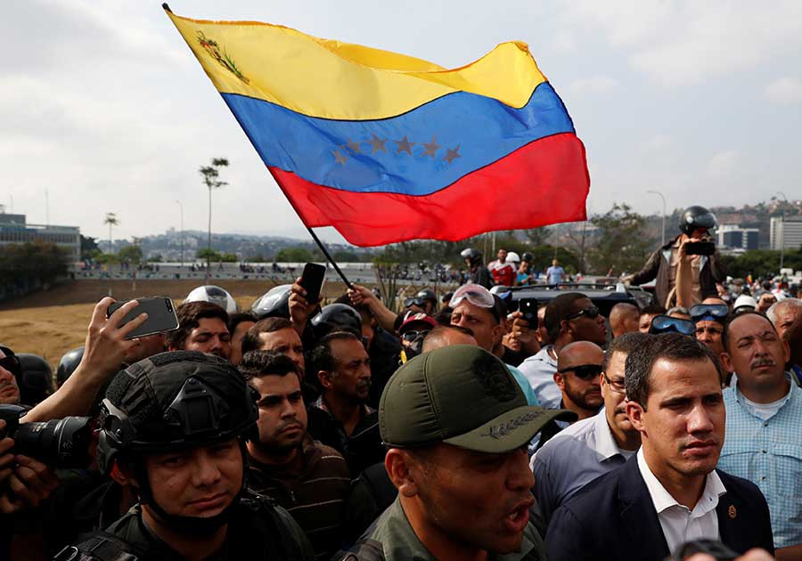 Opp march, Juan Guaido and supporters