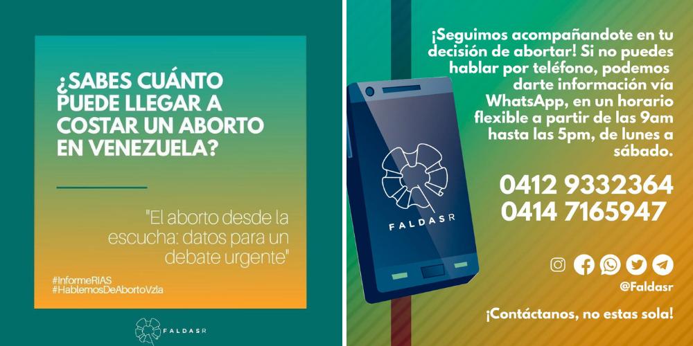 Faldas-R graphic material for the Safe Abortion Hotline. (Faldas-R)