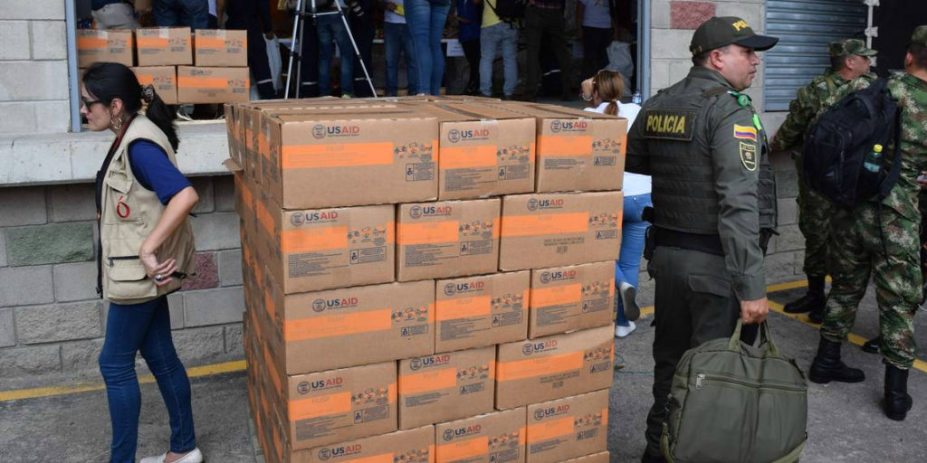 USAID has reportedly been stockpiling humanitarian aid across the Colombian border. (Jim Wyss / Miami Herald)