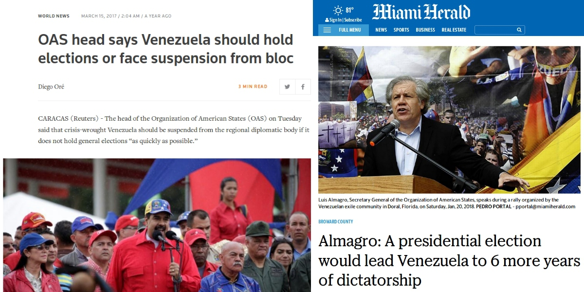 OAS Secretary General Luis Almagro's shifting opinions on the need for elections