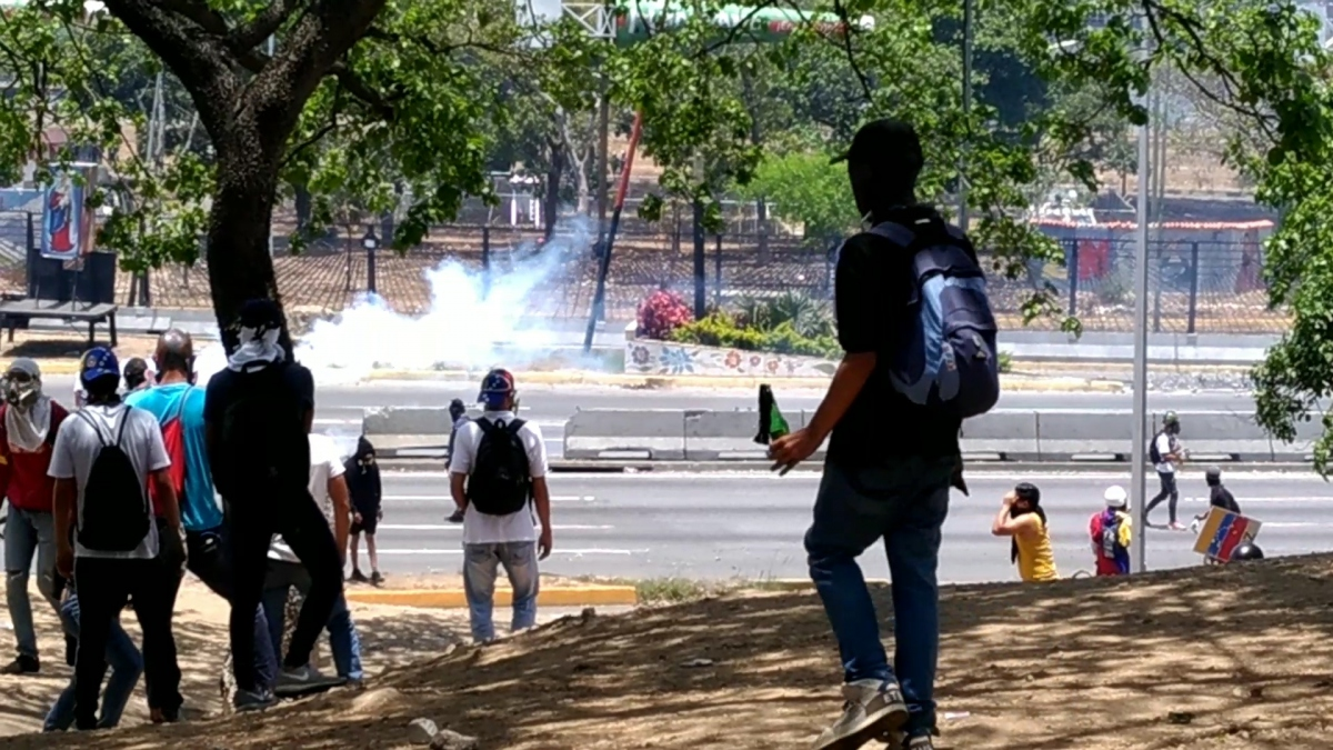 The molotov cocktails were met with tear gas from security forces. (Katrina Kozarek)