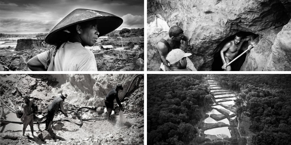"Top left: a miner carries a traditional gold pan, called a ""batea,"" in Las Cristinas mine in Bolívar state. Top right: miners open a tunnel at mine near Tumeremo. Bottom left: informal mining. (Jorge Benezra) / Bottom right: pools formerly used to gather gold become breeding sites for mosquitos. (Archive)"