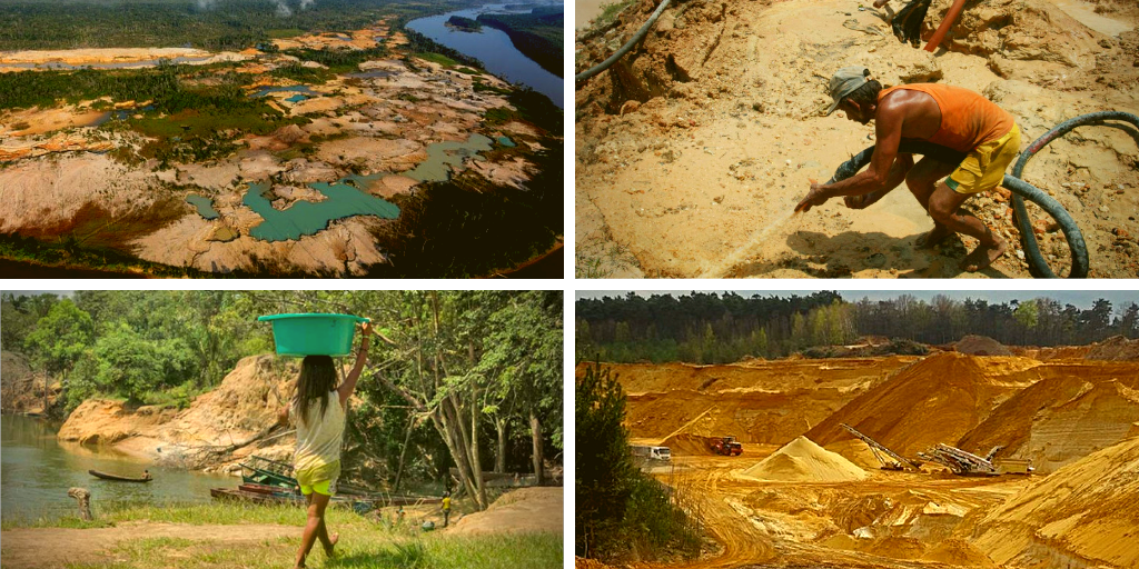 Top left: devastation of the Caroní River basin (Archive). Top right: a miner looks for gold (Reuters). Bottom left: a woman walks beside the Parguaza River. Indigenous women are amongst the most affected by the devastation of mining (Bram Ebus). A mining megaproyect in Bolívar state (MinCI).
