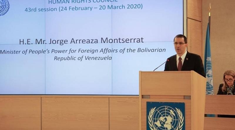 Foreign Minister Jorge Arreaza addressed the UN Human Rights Council on Tuesday. (@CancilleriaVE)
