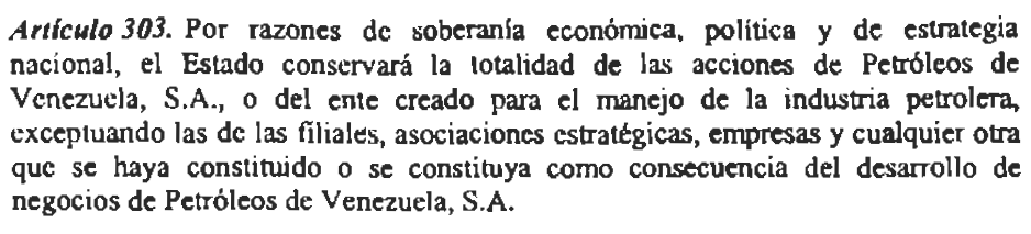 Article 303, Venezuela's Constitution. (Constitución de la República Bolivariana de Venezuela)