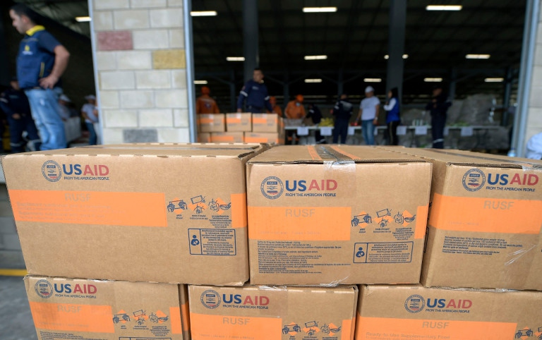 USAID food and medicine collected in the Colombian border city of Cucuta (Raul Arboleda / AFP)