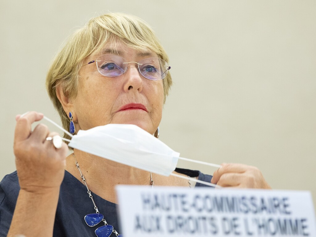United Nations High Commissioner for Human Rights Michelle Bachelet prepares to address the 48th session of the Human Rights Council. (MPPRE)