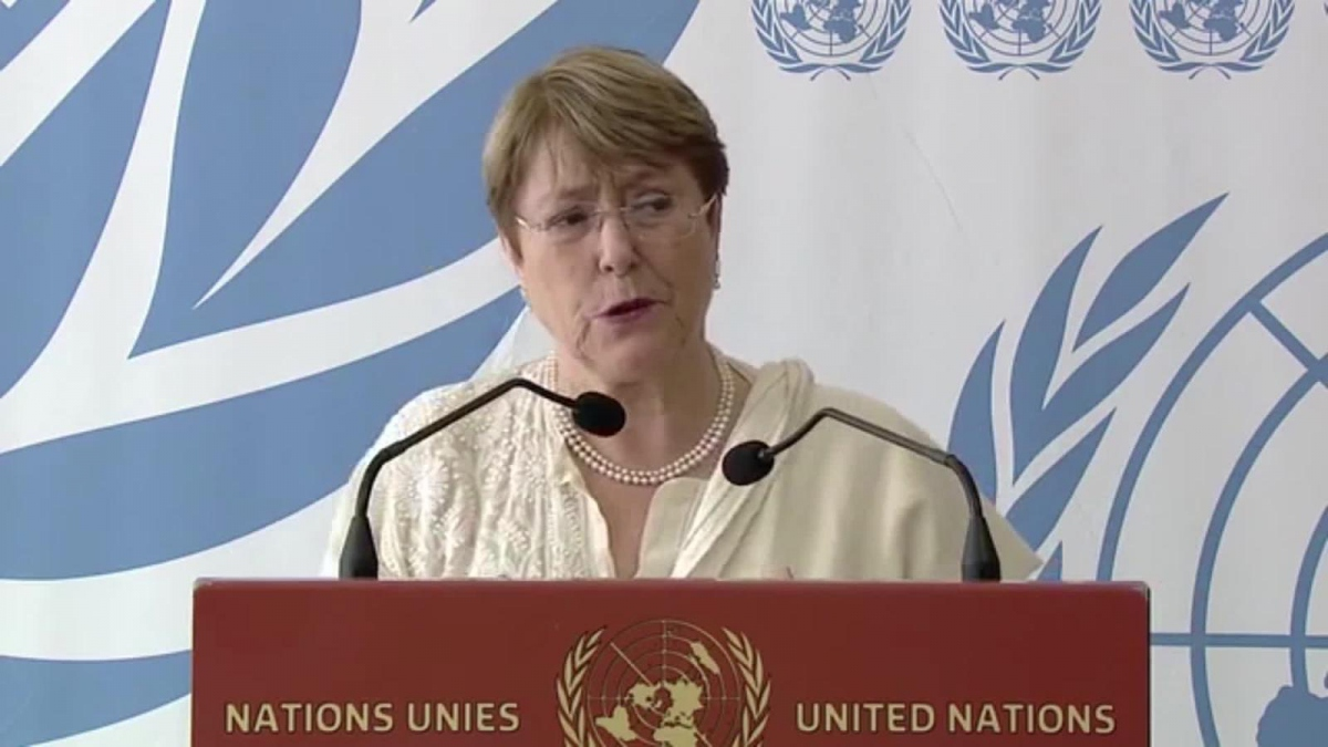 UN High Commissioner for Human Rights Michelle Bachelet presented a report on Venezuela in Geneva on Friday. (CNN)